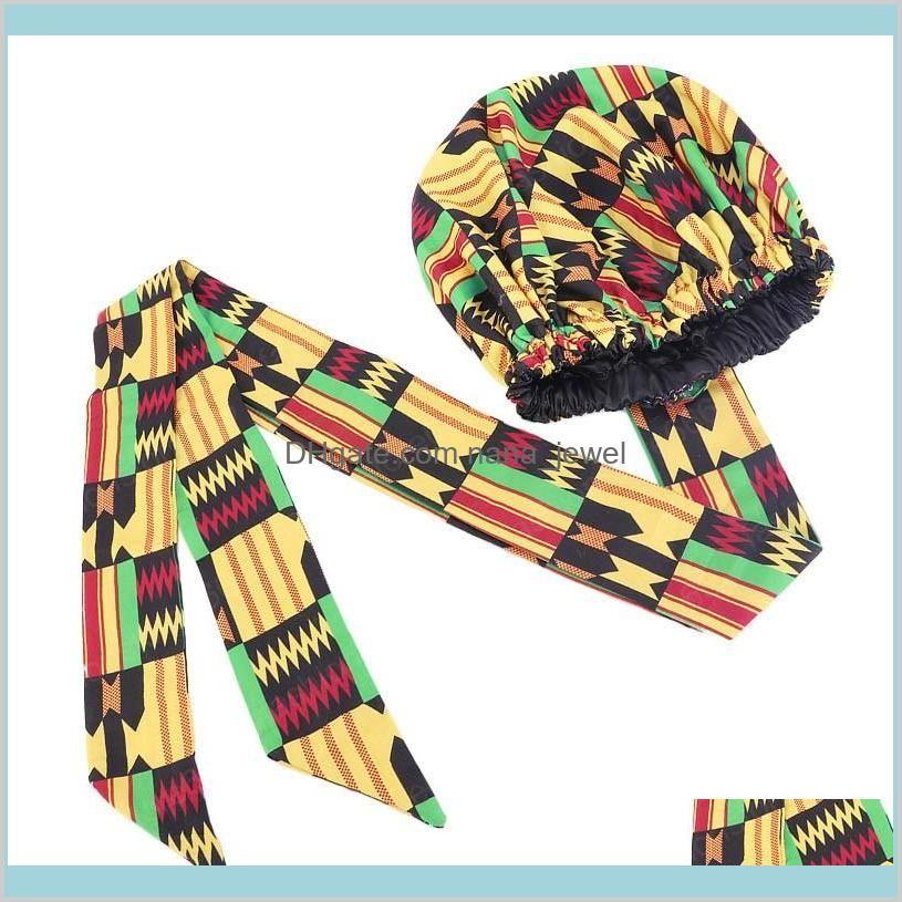 african print satin bonnet with long ribbon wrap double layer headwrap ankara pattern women hair cover large size hair wrap cap
