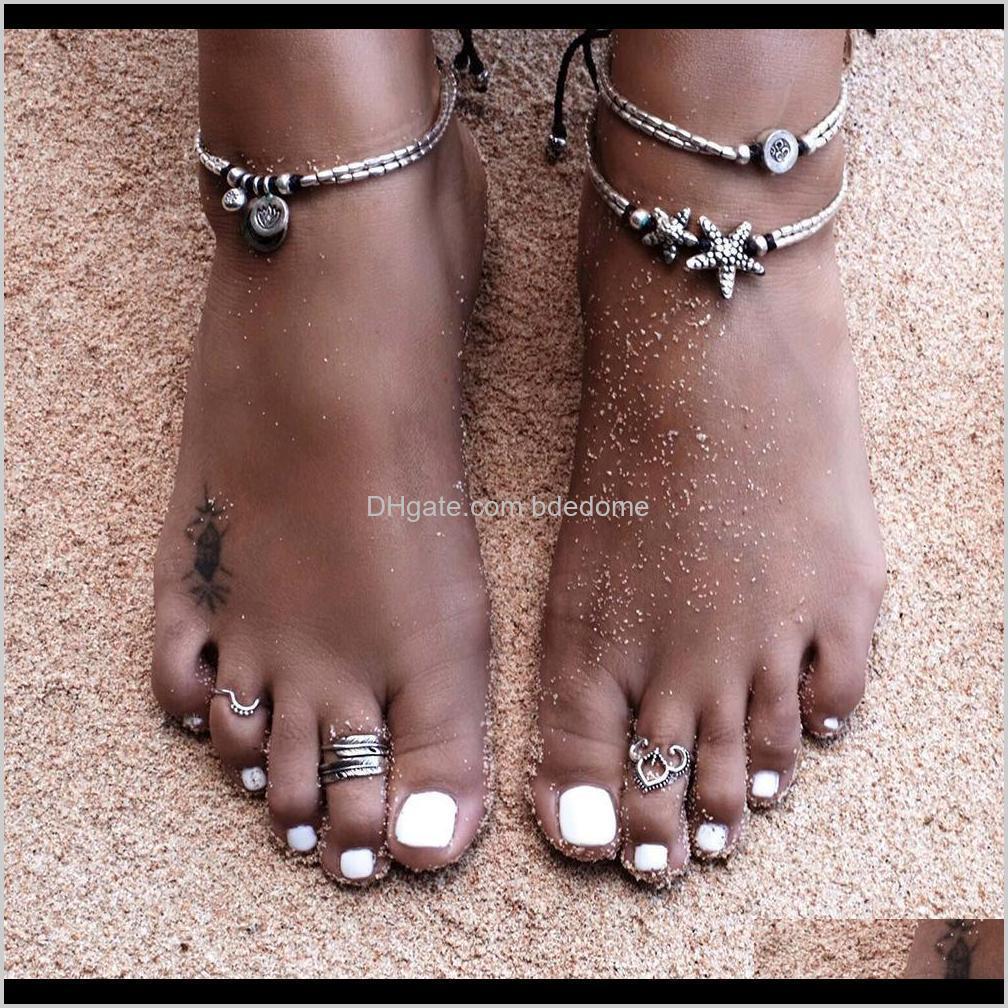 bohemian women fashion jewelry bracelets anklets star om yoga pendant anklet rope chain ankle kka1267