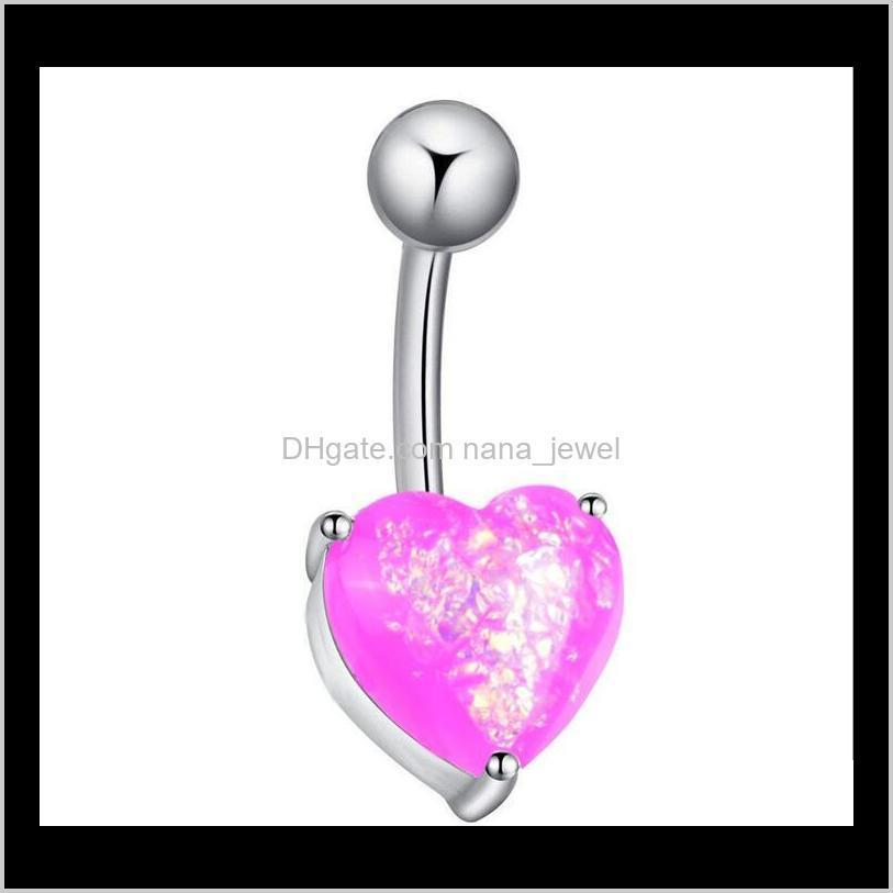 stainless steel belly dangle ring heart bell button navel rings simple design rhinestone body piercing fashion jewelry wholesale