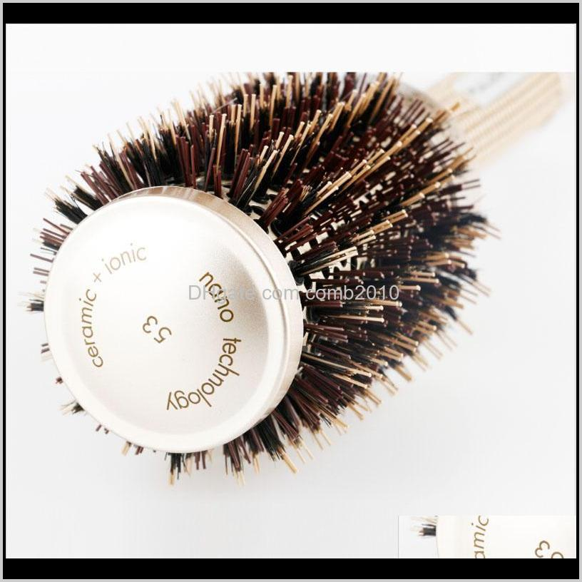 nano ionic boar bristle hair brush salon comb barrel blow dry hair round brush in 4 sizes professional salon styling tools b-087