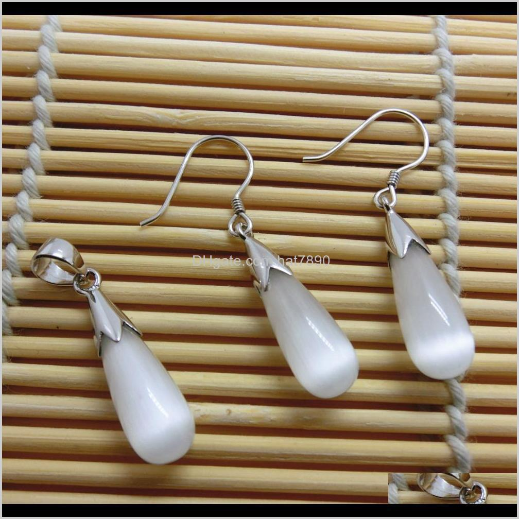 Waterdrop Opal Jewelry Sets 100% Guaranteed Real 925 Sterling Silver Jewelry With White Opal1