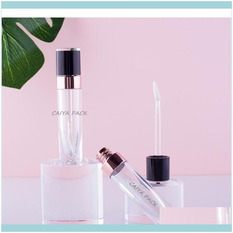 Wholesale High Quality 6ml Cosmetic Pink Purple White Black Clear Empty Lipgloss Tubes Lip Gloss T jllWhb