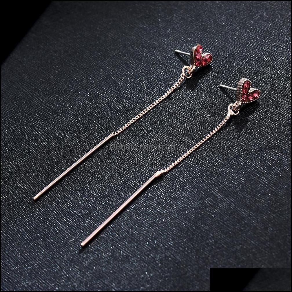 Earrings For Women Simple Red Love Heart Tassel Female Long Dangle Hoop Earrings Fashion Jewelry Pendant Woman`s Accesories