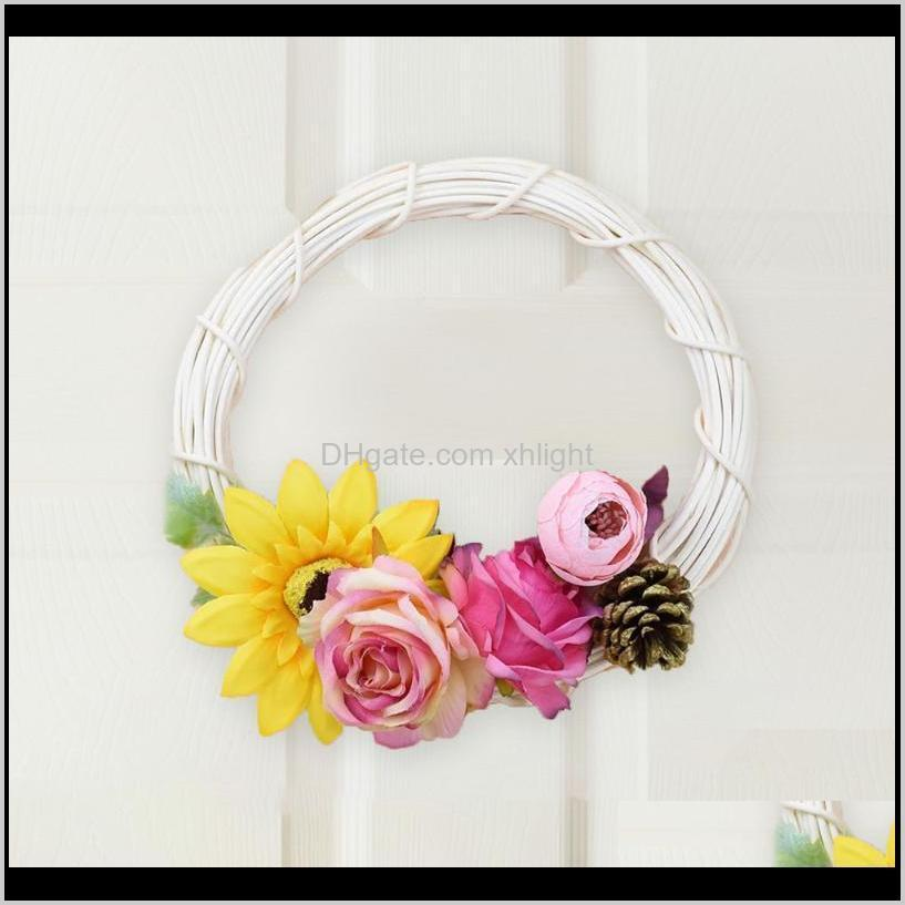 15/20cm white rattan ring artificial wreath hanging garland dried flower frame home decor diy craft wedding party ornaments decorative