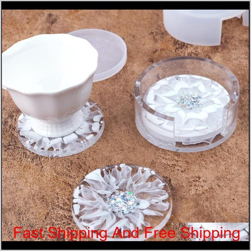 diy epoxy resin silicone molds heat resistant circular white crystal coaster drop glue round storage box mould transparent 9 5rh m2