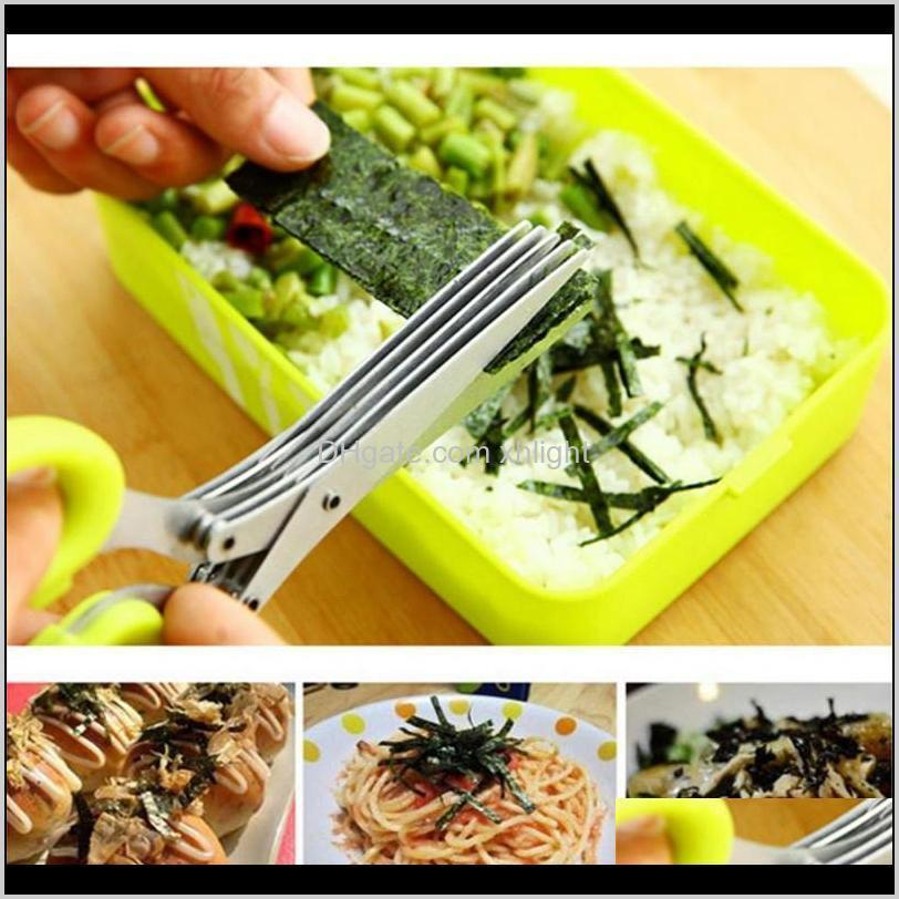 stainless steel scissor 5 layers spices cutter chopped green onion cut scissors cooking tool multifunctional kitchen knives