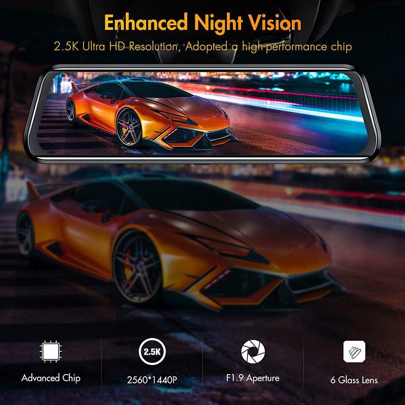 10 дюймов 2.5k Автомобильный видеорегистратор Регистрационный рекордер обратного вида заднего вида, двойной объектив с ночным видением резервные копии Dash Camcorders 32GB Micro SD-карта