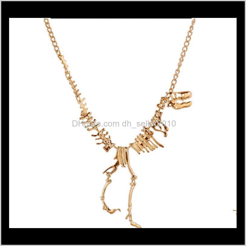 zrm sexy long necklace gothic tyrannosaurus rex skeleton dinosaur pendant charm necklace dragon bone jewelry men women gifts