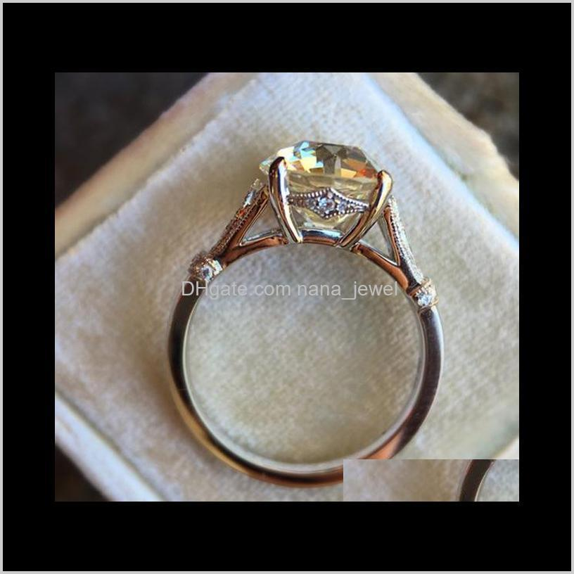 high quality womens wedding rings fashion gemstone silver engagement ring jewelry round simulated diamond ring for wedding