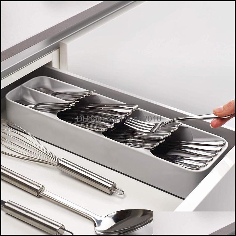 Kitchen Storage & Organization Drawer Tray Organizer Spoon Forks Cutlery Spice Jar Separation Container Plastic Knife Block Holder