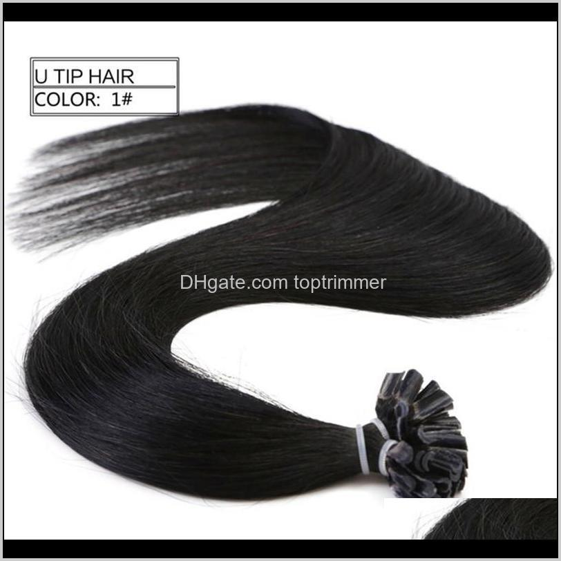 9a 100% human remy hair nail/u tip in hair extension with 24``, 1g/strand & 100g/lot