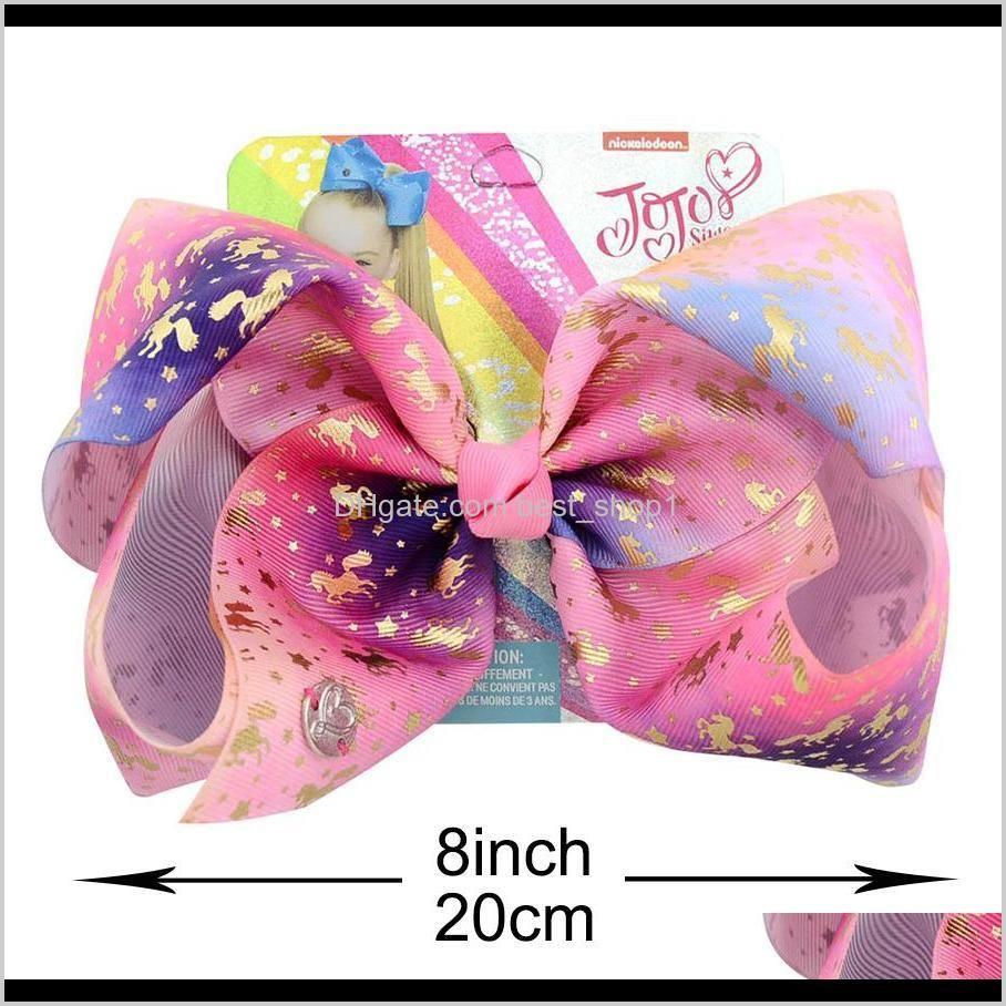 jojo siwa 20cm large rainbow unicorn signature hair bow with card and metal logo baby girl children hair accessories fashion hair clip