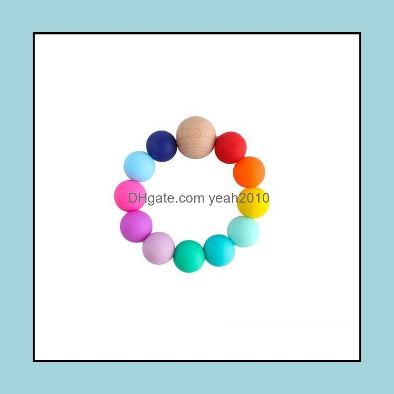 NEWBaby Silicone Teething Beads Newborn Teething Ring Infant Wood Ring Teethers Baby Toy Colorful Silicon Beaded Soother EWE5118
