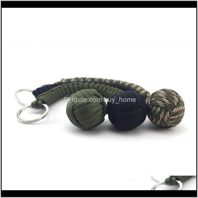 outdoor self defense survival bracelets seven core parachute cord braided key buckle with steel ball hanging chain new arrival 5 8mx b