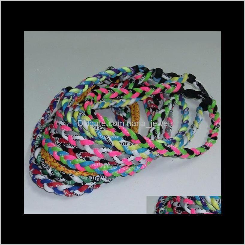 titanium braided necklaces 3-rope baseball sports necklace choker necklace