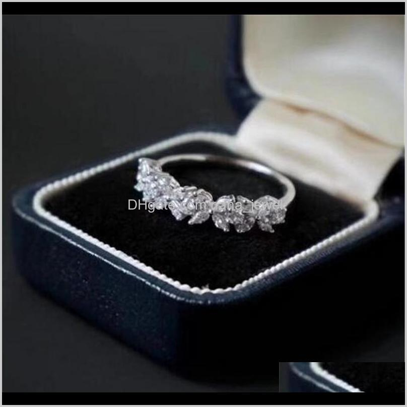 us size 6-10 handmade luxury jewelry 925 sterling silver marquise cut white topaz gemstones women wedding flower band ring for lovers`