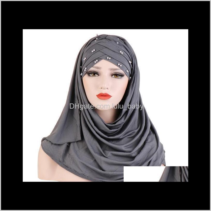 women plain turban bead amira hijab scarf head wrap pull on instant shawl muslim hijabs ready to wear headscarf islamic cap hat