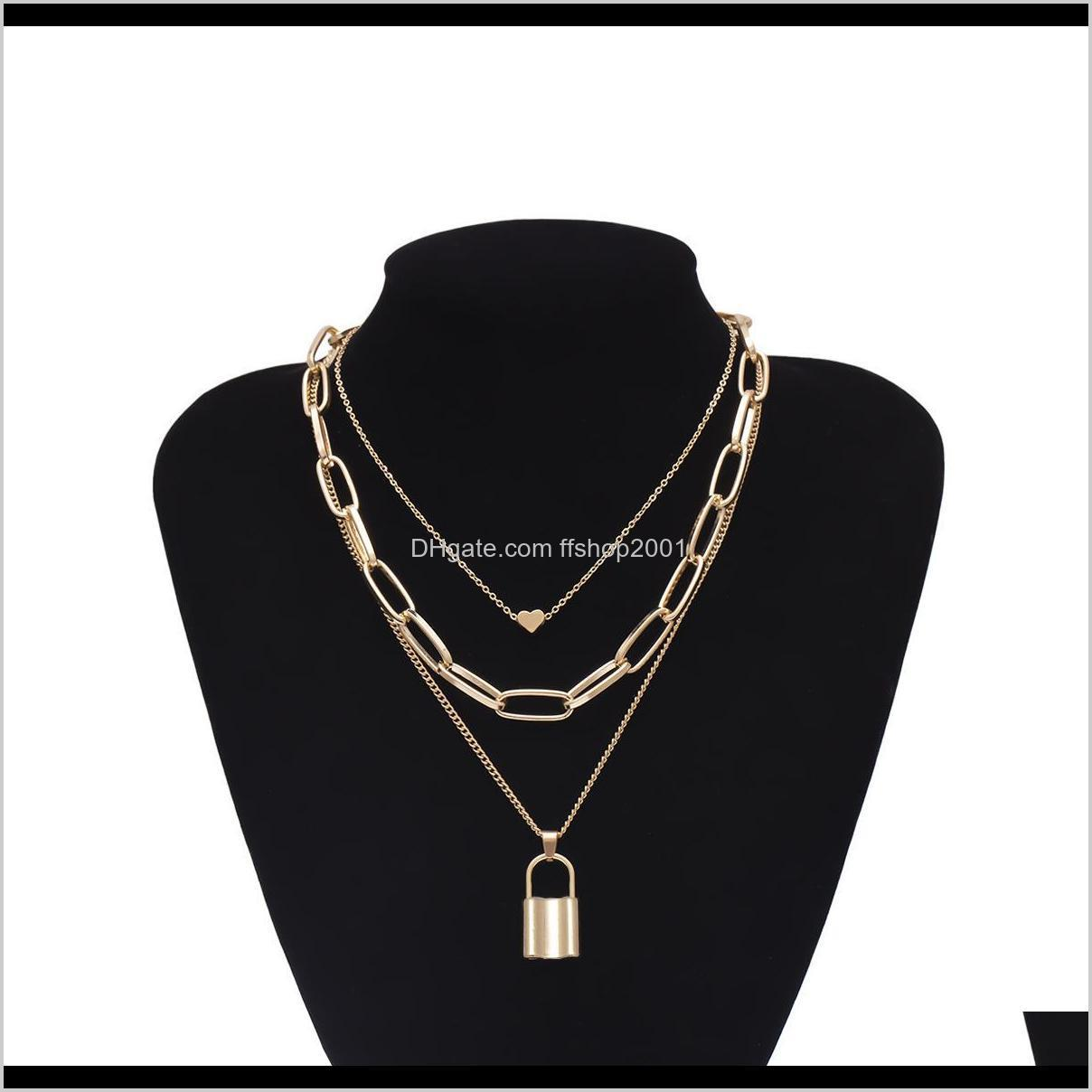 gold chains heart lock necklace chokers multi layer chains collar necklaces women hip hop fashion jewelry will and sandy gift