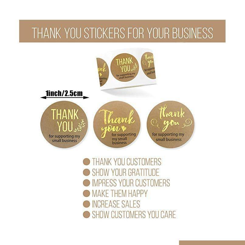 500pcs thank you for supporting my business Kraft Stickers with Gold Foil round labels sticker for small shop handmade sticker