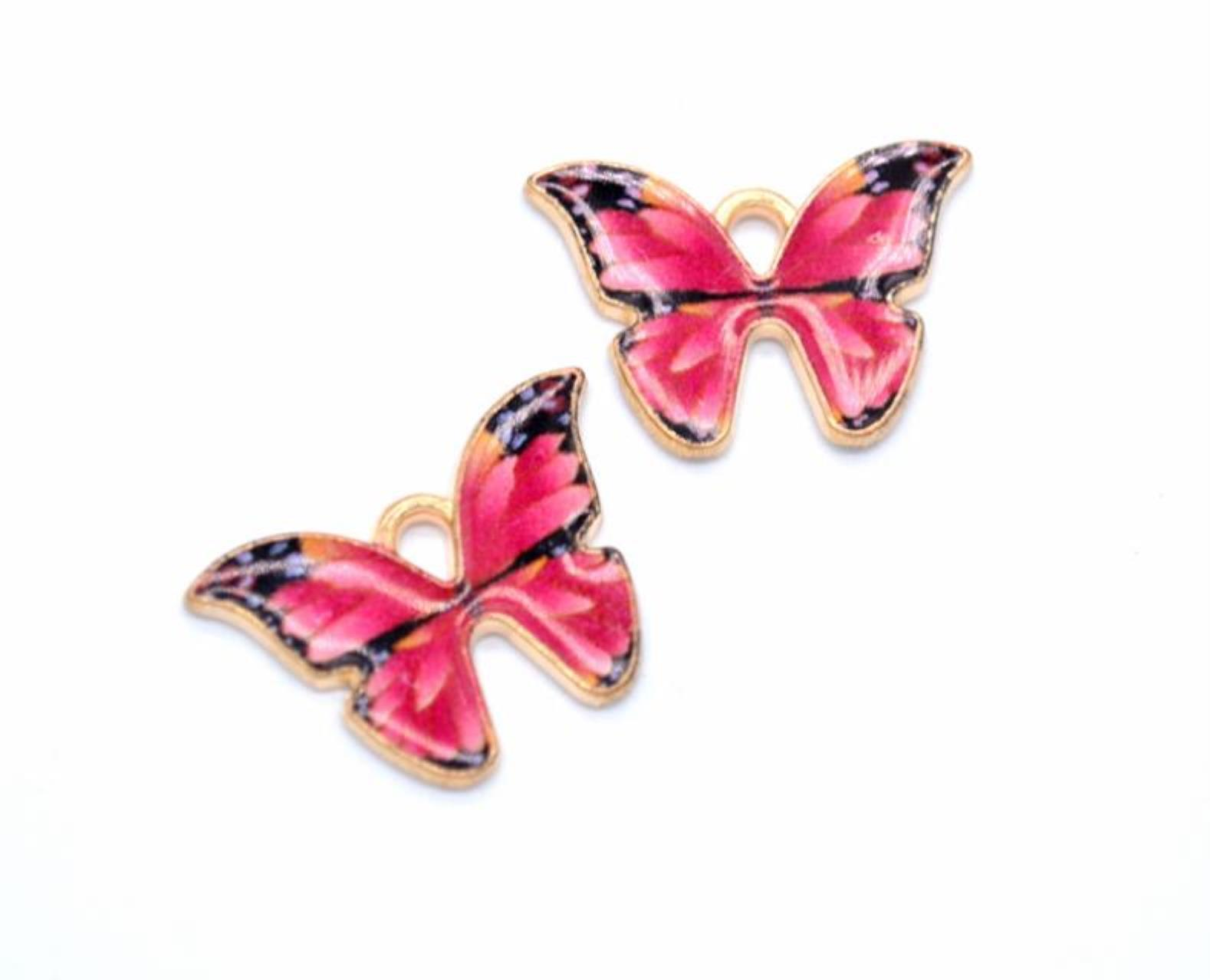 Findings & Components Jewelry Colorful Butterfly Pendant 100Pcs/ Lot Charms 21*15Mm Enamel Animal Charm Pendants Fit For Necklace Bracelet