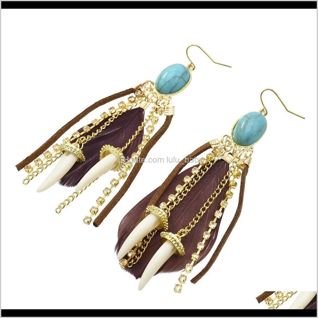 idealway bohemian feather imitation stone drop dangle earrings with clear rhinestone leather hot pepper shape long tassels statement