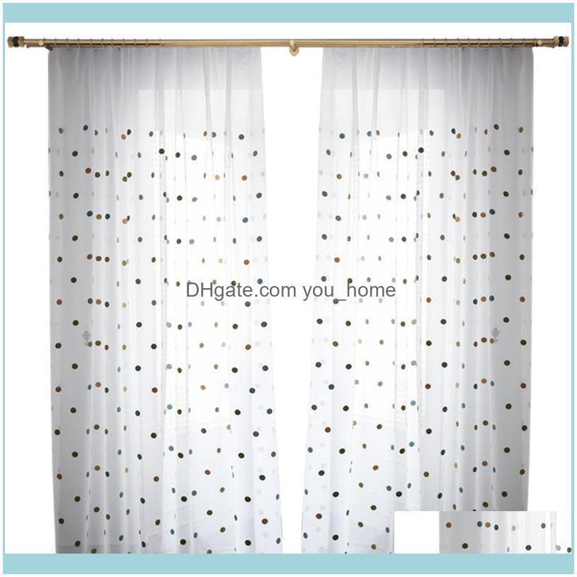 Nordic Simple Colorful Dots Embroidery Window Screen For Living Room Bedroom Kid`s Cartoon Tulle Curtain Custom ZH035#4 & Drapes