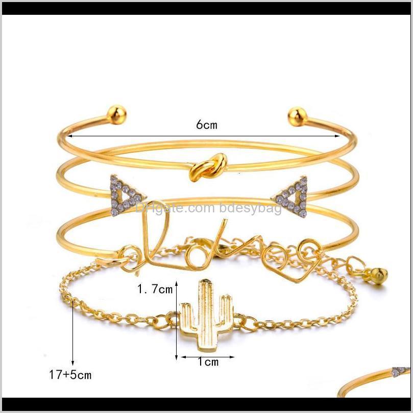 love letter cactus knot 4-piece triangle diamond hand set bracelet