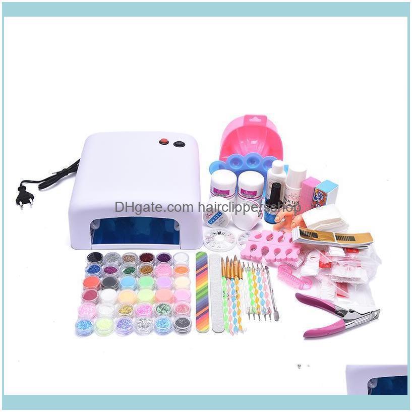 Nail Manicure Set With Potherapy Lamp Glitter Powder Art Tool Kits