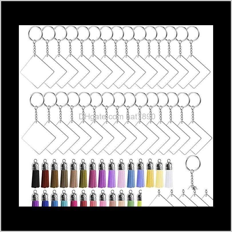 Kimter 120 Pcs Square Acrylic Keychain Blanks Tassels Set Women Bag Pendant Car Key Rings with Chain DIY Crafts Making Kit W41F