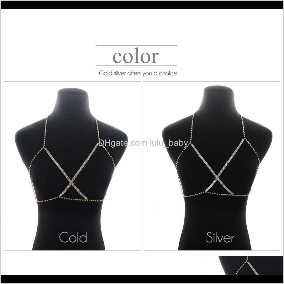 sexy women fashion brand crystal bra chest slave harness body chain rhinestone choker bikini beach body jewelry