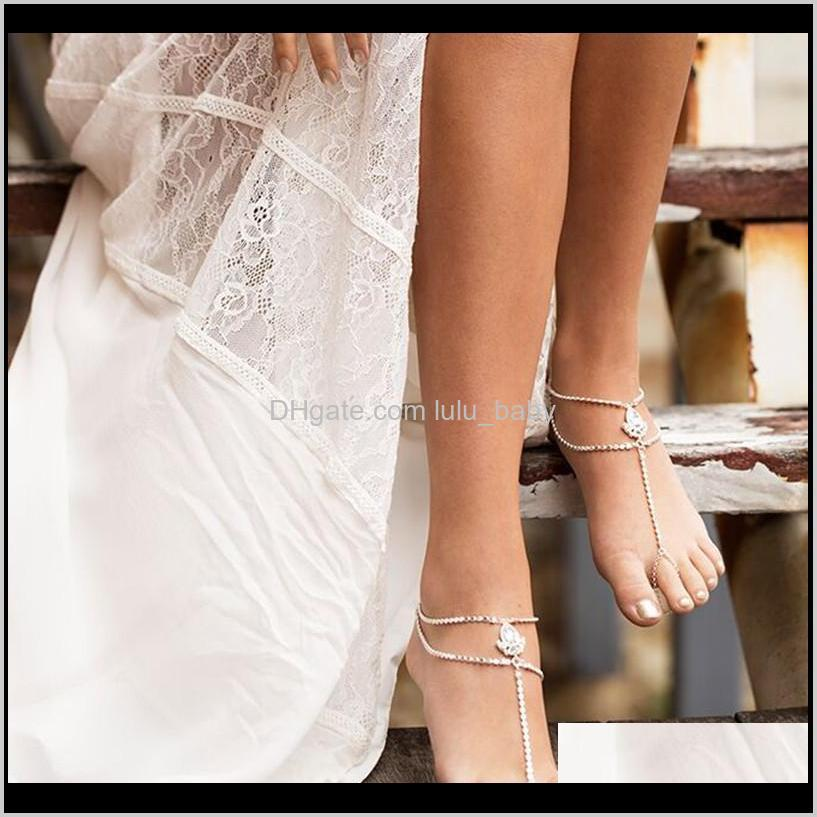 1pc bohemia elegant barefoot sandals with toe ring anklet bracelet chain beach wedding foot jewelry anklets for women and girls