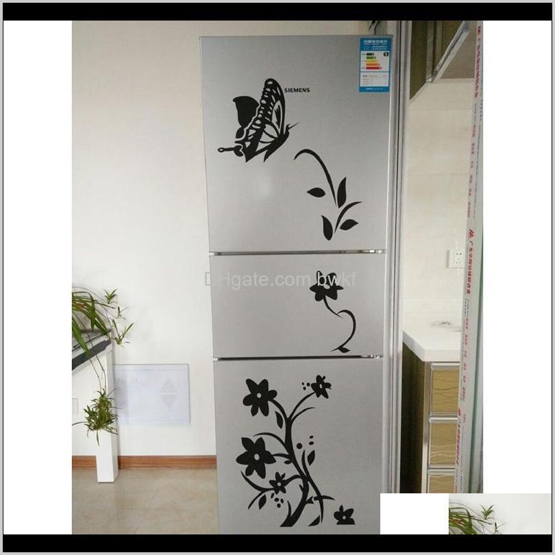 high quality creative refrigerator black sticker butterfly pattern wall stickers home decoration kitchen wall art mural decor