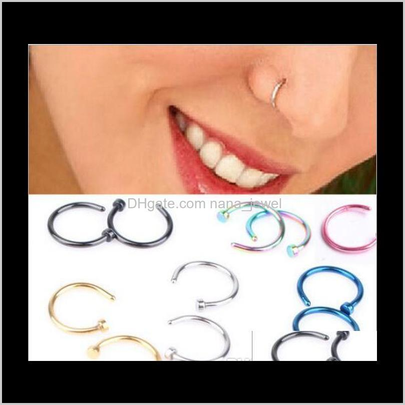 trendy nose rings body piercing jewelry fashion jewelry stainless steel nose open hoop ring earring studs fake nose rings non piercing