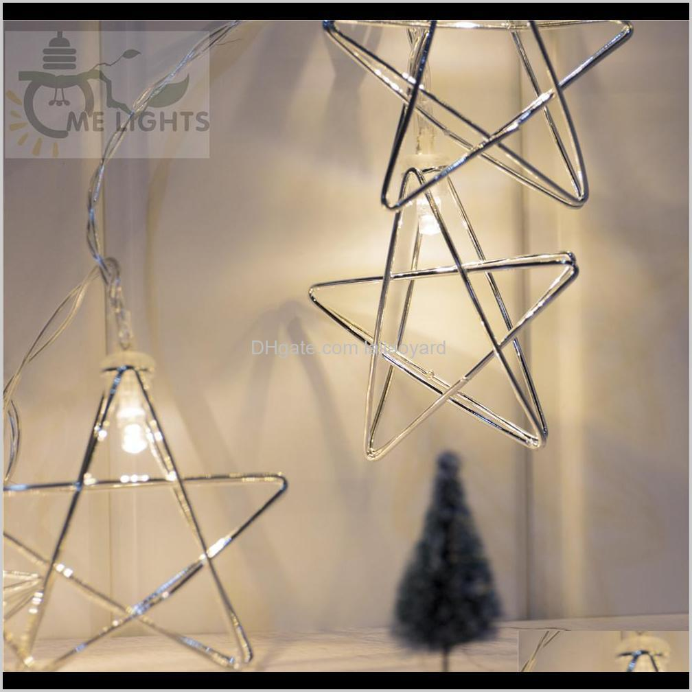 novelty led fairy lights 20 metal star string light battery powered christmas holiday garland light for party wedding decoration swy
