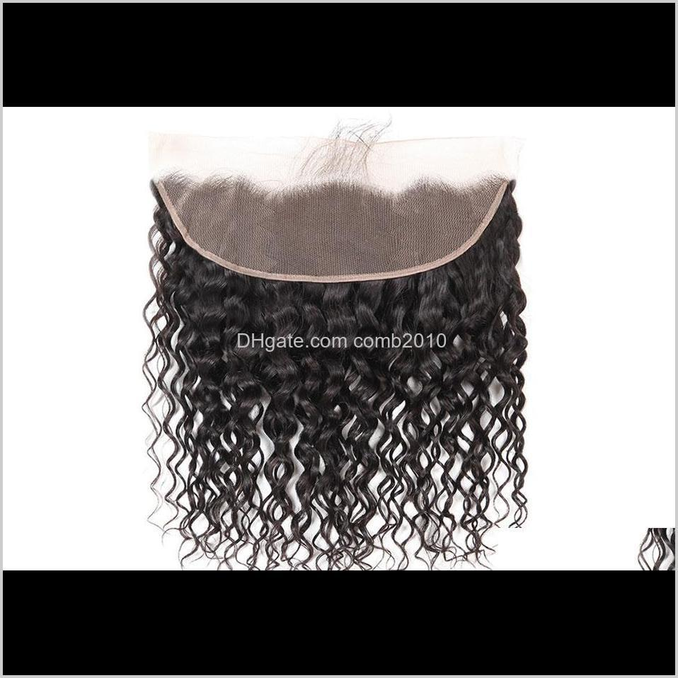 brazilian natural water wave human hair weaves with 13x4 lace frontal ear to ear full head natural color can be dyed unprocessed human