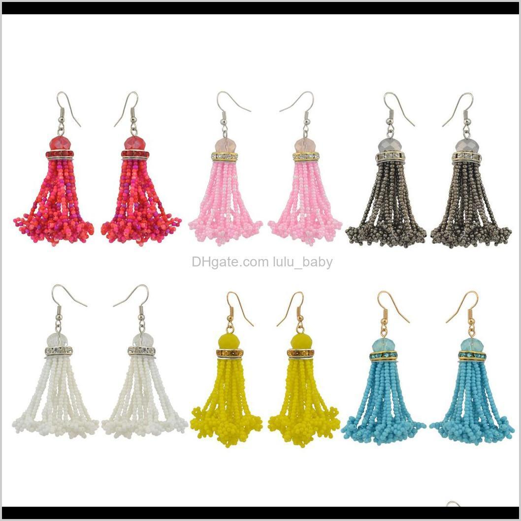 idealway 6 colors gold plated boho style shiny alloy acrylic beads chain tassel pendant