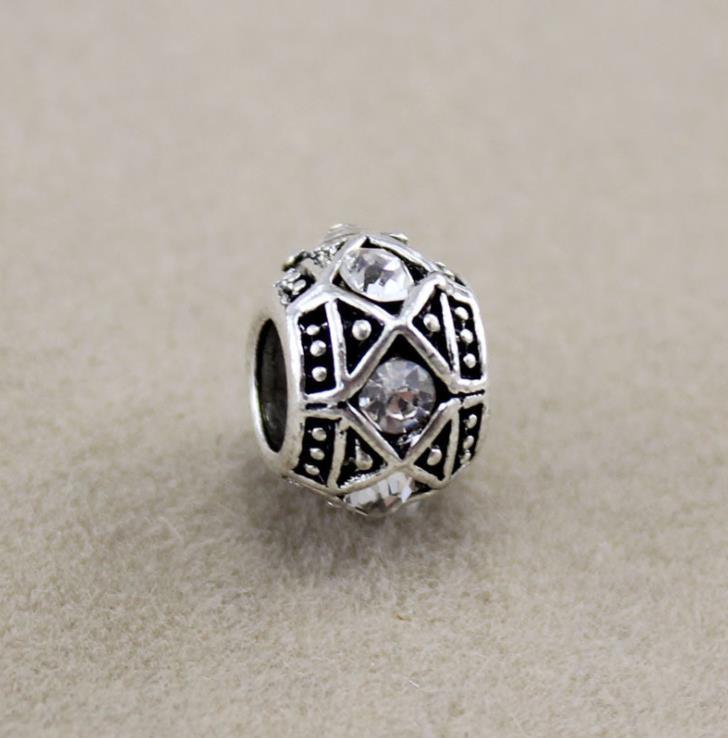 Metals Brand Fashion Metal Antique Silver Crystal Big Hole Fit European Bracelets Diy