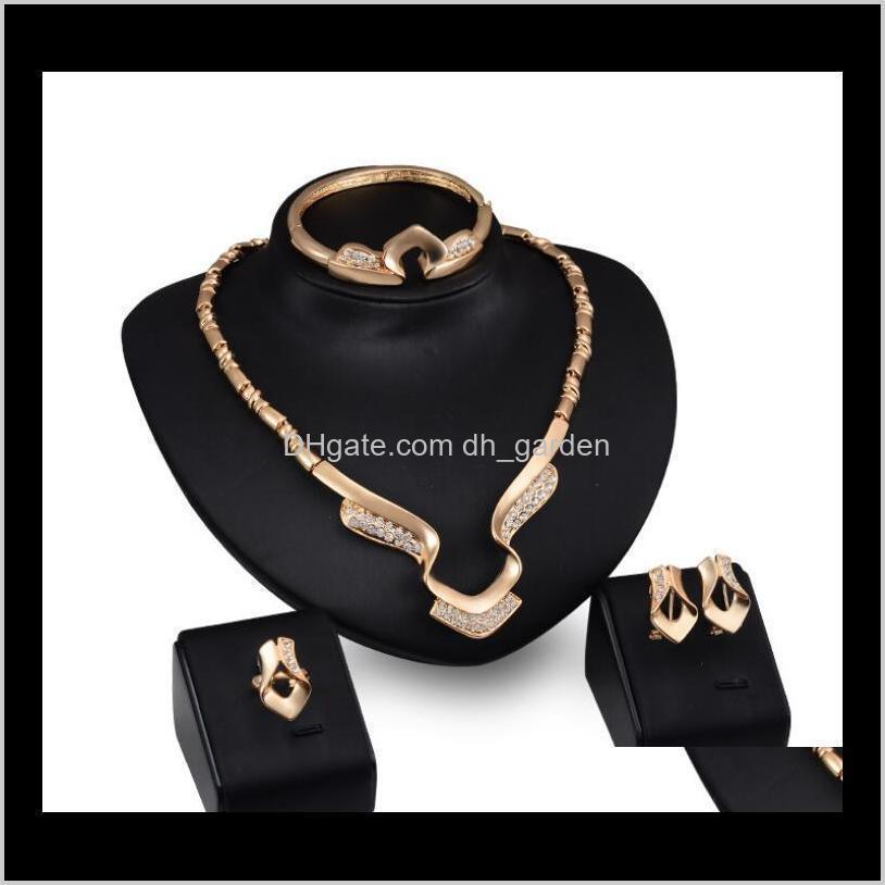 Women bride Wedding The big exaggeration chainFashion Luxury Diamond Jewelry Sets Plated Necklace Bracelets ps2607