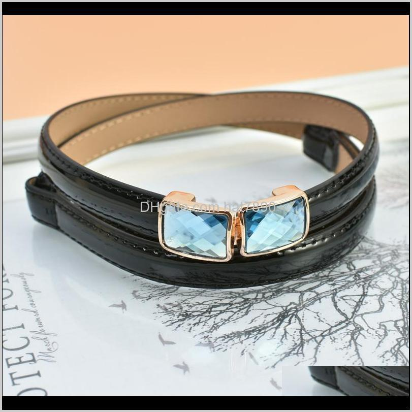 Blue/yellow/pink Fashion Womens 1.5cm / Ladies Slim Leather Belt Korean Style with Rhinestone Pin Buckle for Dress Jeans