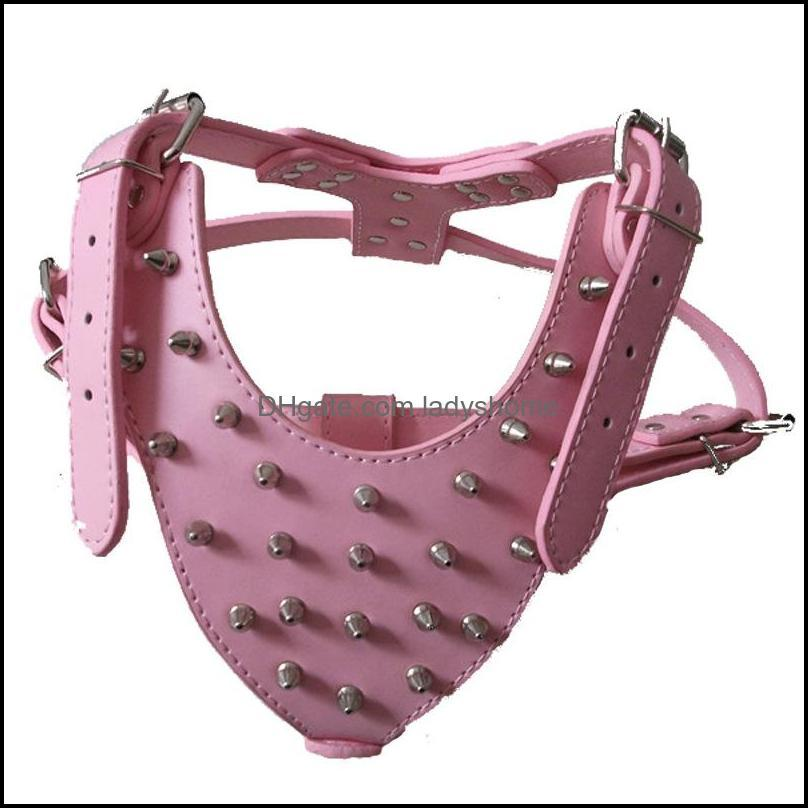 Large Dog Zinc Alloy Rivets Spiked Studded PU Leather Dog Harness Adjustable for Pitbull Big Breed Dogs Pet Harnesses Vest Dog Chest