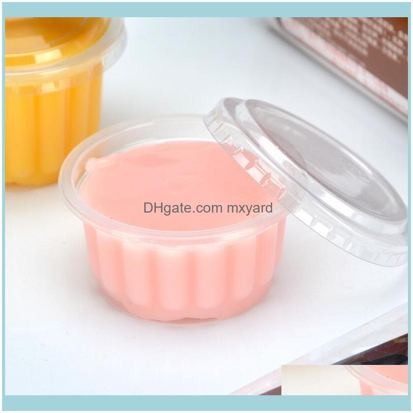 Packaging Dinner Service 100pcs 150ml Disposable Plastic Cups With Lids Jelly Pudding Cup Condiment Sushi Sauce Boxes Home Party