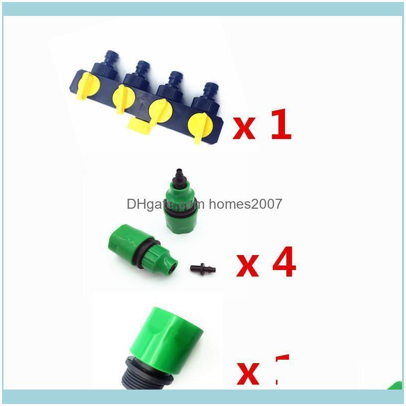 1 Set (6 Pcs) 4 Way Shunt Water pipe connector Water diverter Drip garden irrigation 4/7 or 8/11 Hose Connector Fitting