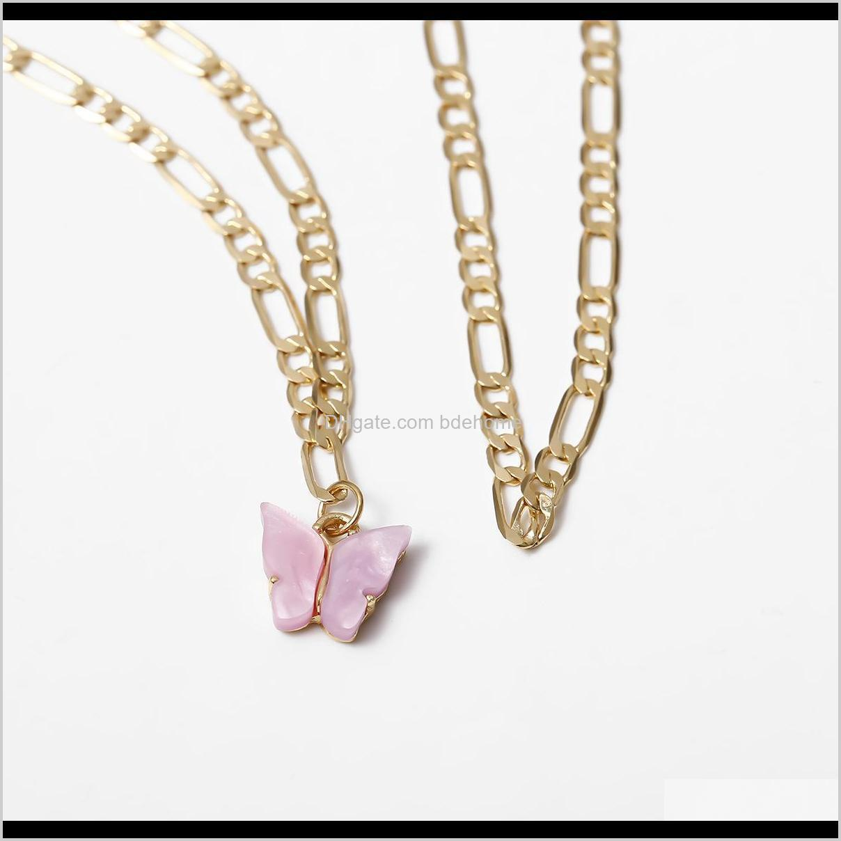 2020 pink butterfly anklet set gold plated jewelry women 2 layer cuban jewelry butterfly pendant with cuban link ankle bracelets