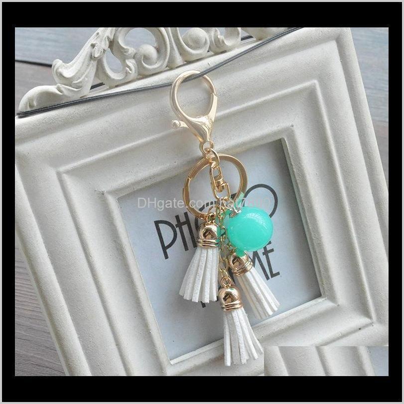 Kimter Candy Creative Charm Keychain Color Acrylic Beads Tassel Key Ring jewelry Bag Car Keyfobs Pendant Accessories Free DHL B801Q A