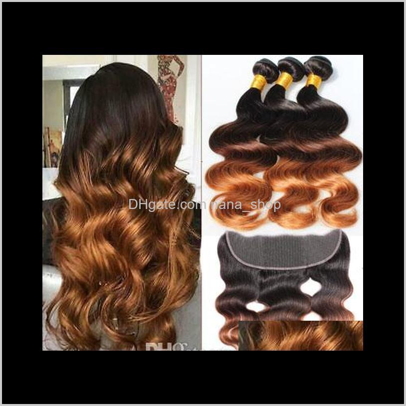1b/4/30 27 ombre human hair bundles with frontal closure remy blonde brazilian body wave 3 bundles colored bundles with frontal pre
