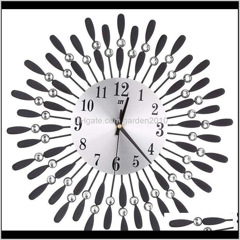 15 inch 3D Large Wall Clock Shiny Rhinestone Sun Style Modern Living Room Decor1