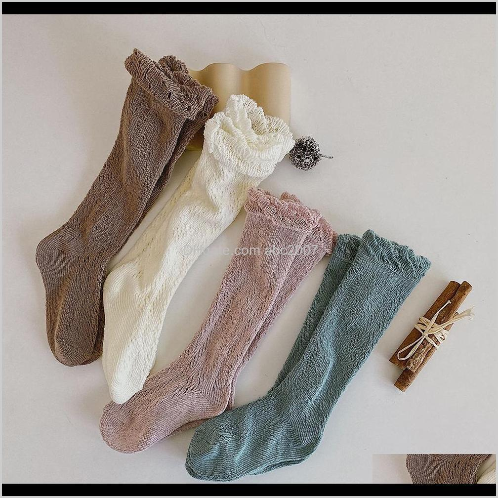 2021 for girls knitted cotton long tube socks knee high toddler princess baby summer hollow out infant socks