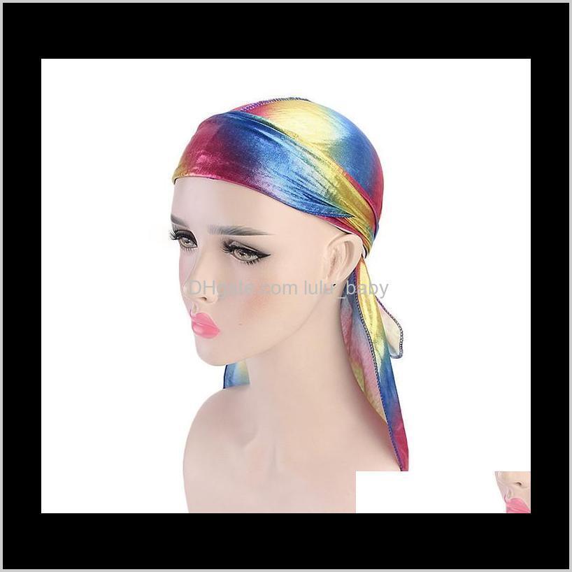 fashion women/men silk laser satin durags bandanna turban wigs male headwear female headband pirate hat hair styling tool 10pcs