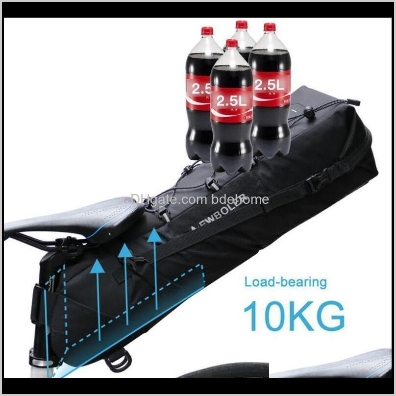 waterproof bike saddle bag 12l cycling foldable tail rear seat bag mtb trunk bicycle accessories high-capacity bike rear pannier pouch