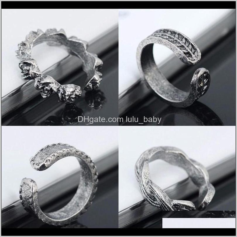 vintage retro antique silver beach punk elephant moon arrow ring set ethnic carved adjustable open toe ring finger foot